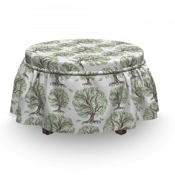 Tree Swirled Lines Botanical 2 Piece Box Cushion Ottoman Slipcover Set By East Urban Home