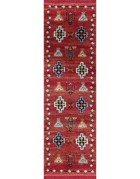 Rheba Red Area Rug by Bungalow Rose