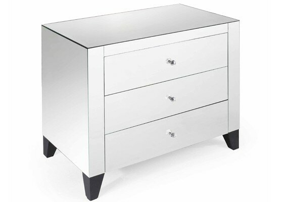 Cramlington 3 Drawer Mirrored Nightstand by Everly Quinn