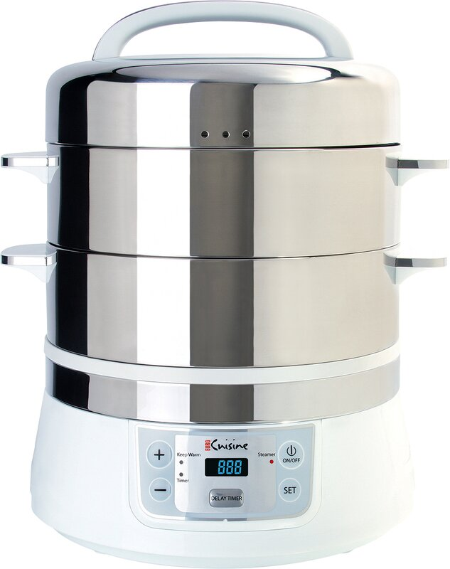 Euro Cuisine 17 Qt. Stainless Steel 2 Tier Electric Food Steamer ...