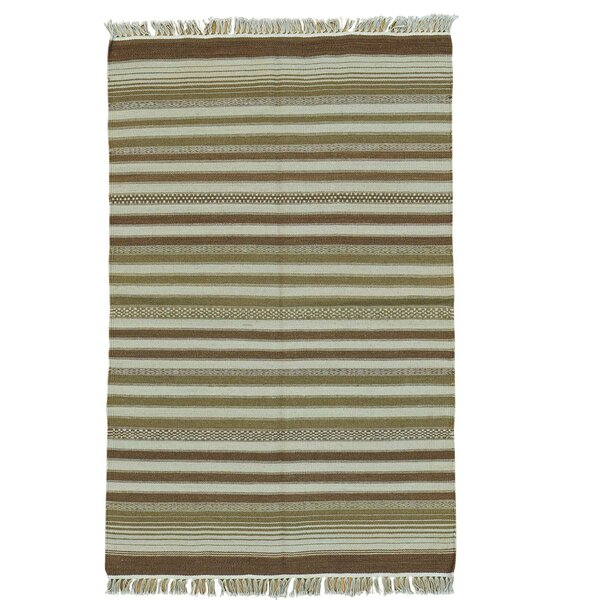 Durie Kilim Flat Weave Hand-Knotted Light Brown/Olive Area Rug by Bloomsbury Market