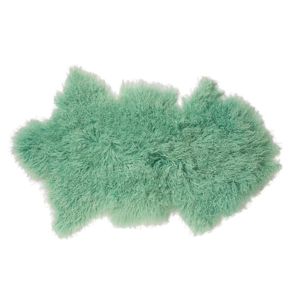 Hogue Faux Sheepskin Mint Area Rug by Mercer41