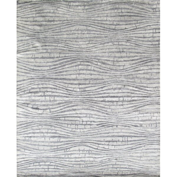 Modern Rayon from Bamboo Silk Hand-Knotted Silver Area Rug by Pasargad