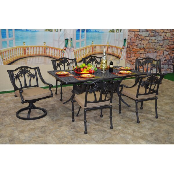 Maccharles 7 Piece Sunbrella Dining Set with Cushions Bayou Breeze BBZE4647