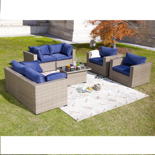Wragby 7 Piece Outdoor Sectional Set Rattan with Cushions by Sol 72 Outdoor