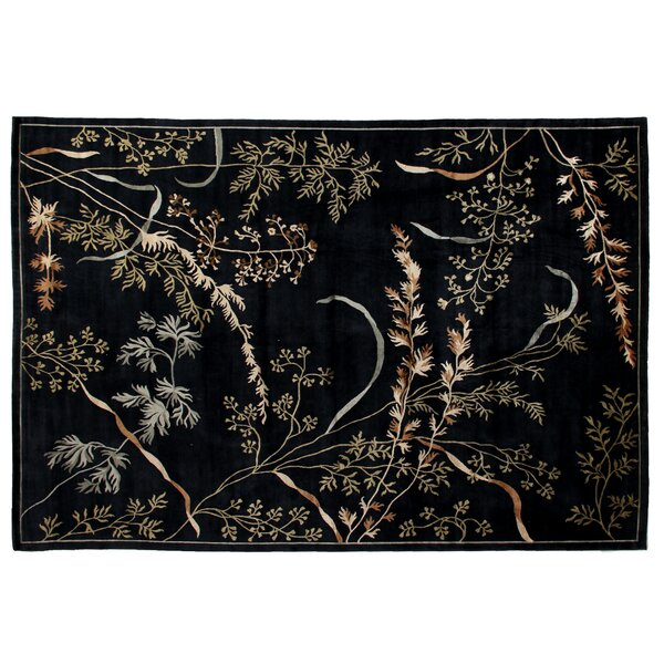 Super Tibetan Hand Knotted Wool/Silk Dark Blue Area Rug by Exquisite Rugs