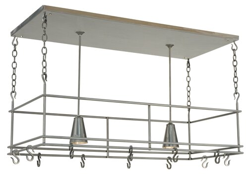 Greenbriar Oak Spartan Pot Rack by Meyda Tiffany