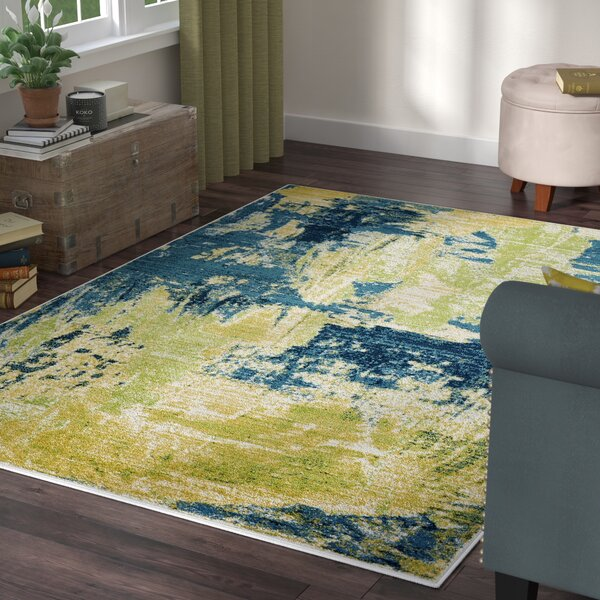 Tompkins Ivory/Blue Area Rug by Andover Mills