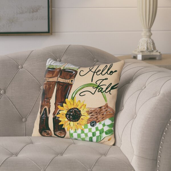 Perrine Boots Hello Fall Throw Pillow by August Grove