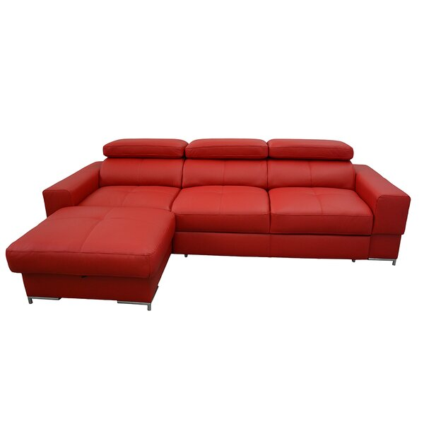 Sharolyn Leather Sleeper Sectional by Orren Ellis