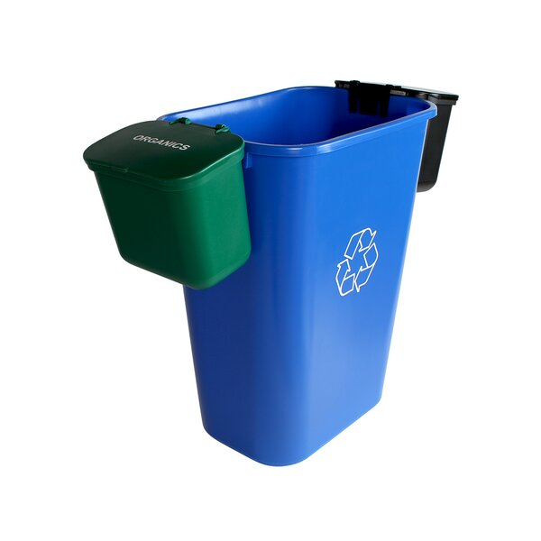 Office Combo Solid Lift Organics 11.75 Gallon 3 Piece Recycling Bin and Waste Basket Set by Busch Systems