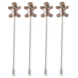 Metal Cocktail Picks Gingerbread Man Stirrer (Set Of 8)