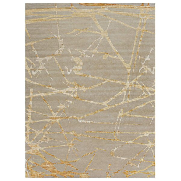 Hand-Knotted Ivory/Gold Rug