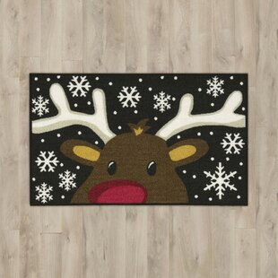 Reviews Reindeer Black/White Area Rug By The Holiday Aisle