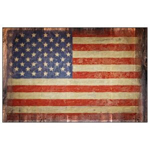 'Vintage American Flag on Barn' Graphic Art on Canvas by Penny Lane