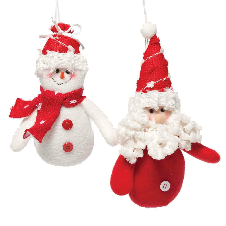 ziabella 2 piece jolly plush santasnowman ornament set reviews wayfair - Santa Snowman 2