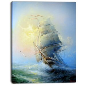 'Large Sailing Boat' Oil Painting Print on Canvas by East Urban Home