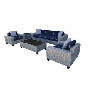 Vizela 5 Piece Rattan Sofa Set with Cushions BySolis Patio
