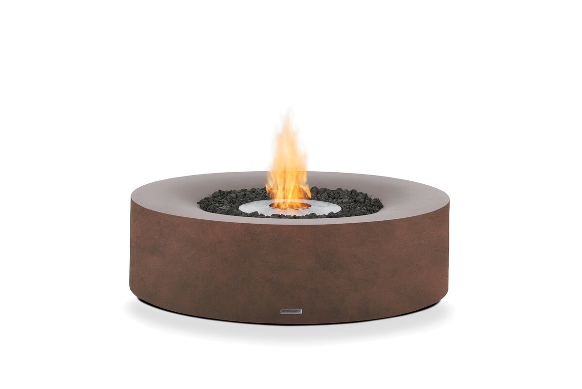 Bjfs kove concrete bio ethanol fuel fire pit table for Alcohol fire pit