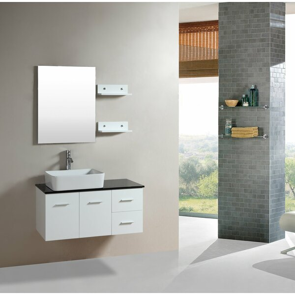 36 Wall-Mounted Single Bathroom Vanity Set with Mirror by Kokols