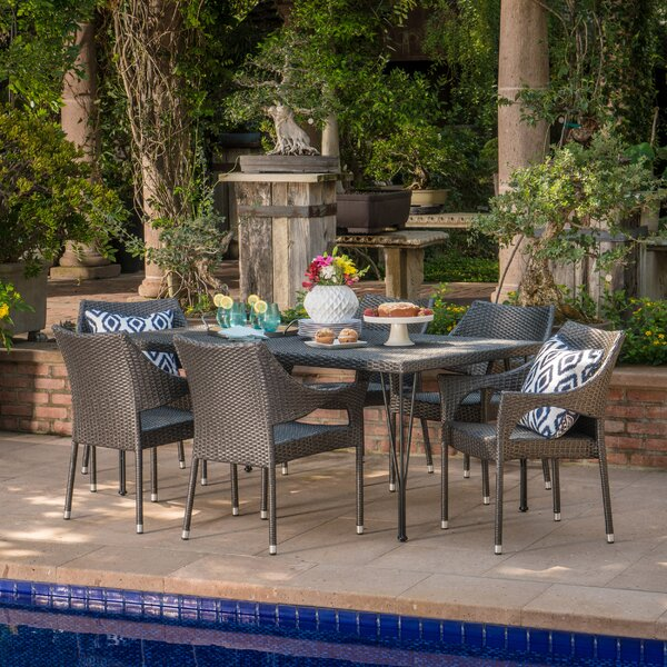 Hallam Outdoor Wicker 7 Piece Dining Set by Alcott Hill