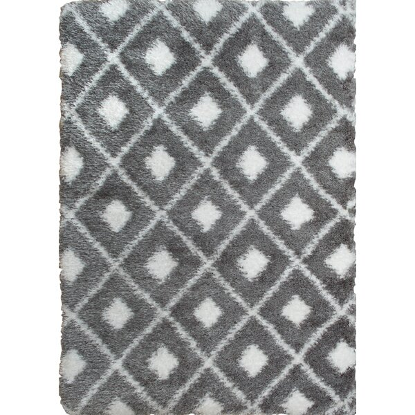 Abarca Gray/Ivory Shag Area Rug by Mercury Row