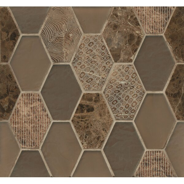 DuJour Glass and Stone Mosaic Tile in Brown by Grayson Martin