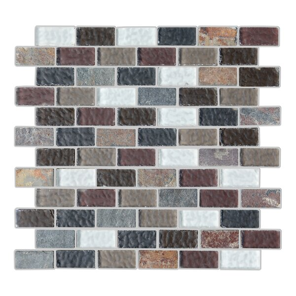Cheyenne 1 x 2 Glass and Natural Stone Mosaic Tile in 5 Color Blend by Mulia Tile