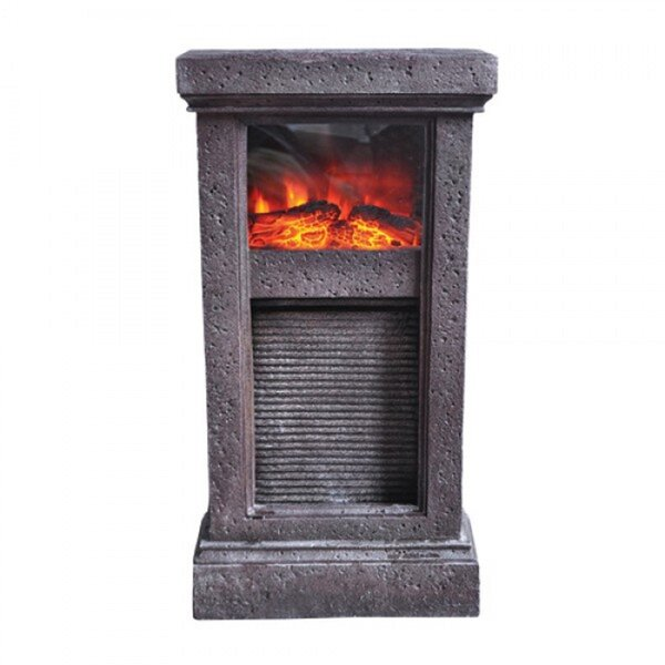 Washboard Fireplace Resin with LED Light by Yosemite Home Decor