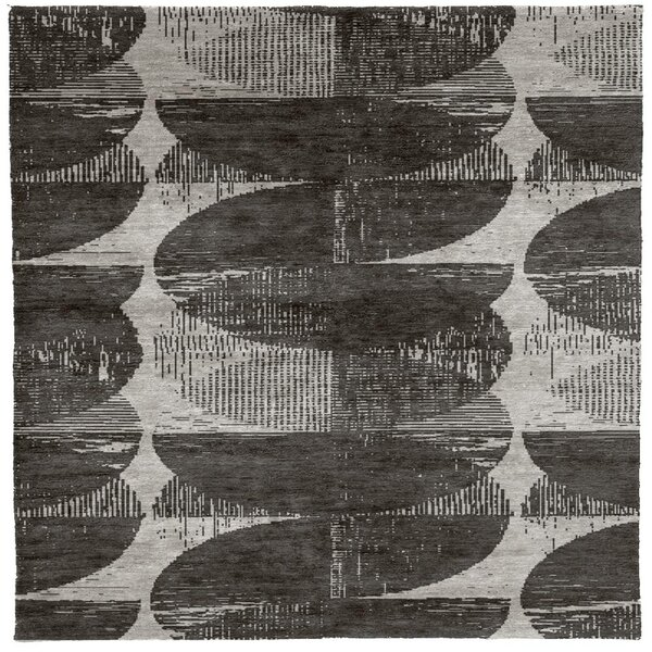 One-of-a-Kind Selen Hand-Knotted Gray 10' Square Wool Area Rug