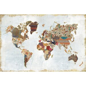 Pattern World Map Graphic Art on Wrapped Canvas by World Menagerie