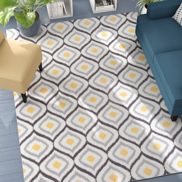 Walmsley Moroccan Gray/Yellow Area Rug by Wrought Studio