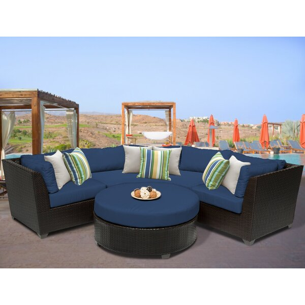 Medley 4 Piece Rattan Sectional Seating Group with Cushions by Rosecliff Heights