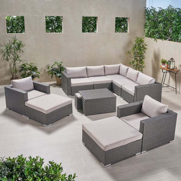 Guccione Outdoor V Shaped 12 Piece Sectional Seating Group with Cushions by Orren Ellis