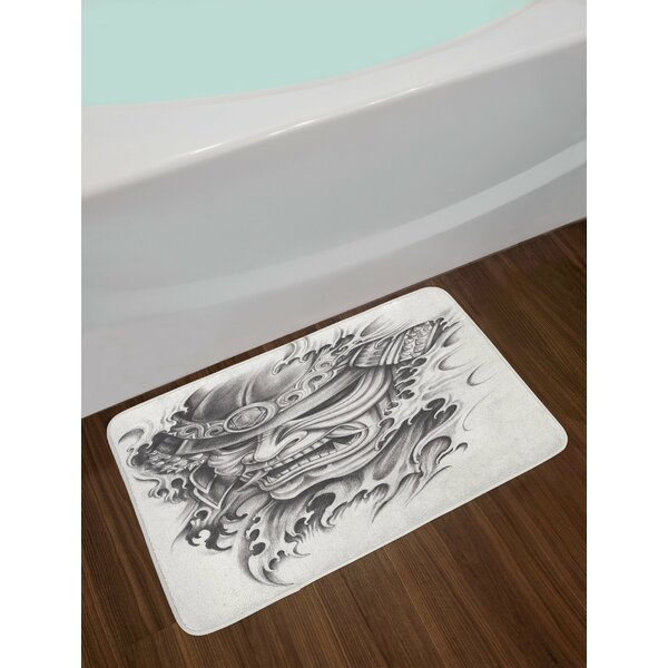 Warrior Black White Kabuki Mask Bath Rug by East Urban Home