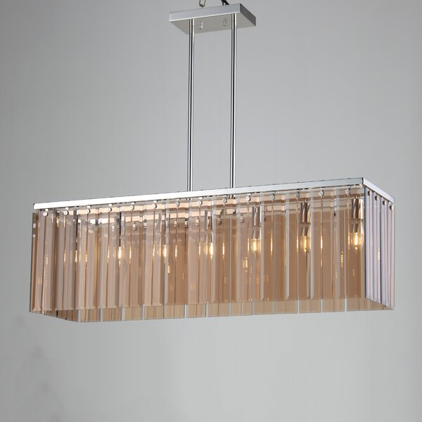 Dinapoli 7 - Light Unique / Statement Square / Rectangle Chandelier With Crystal Accents By Orren Ellis