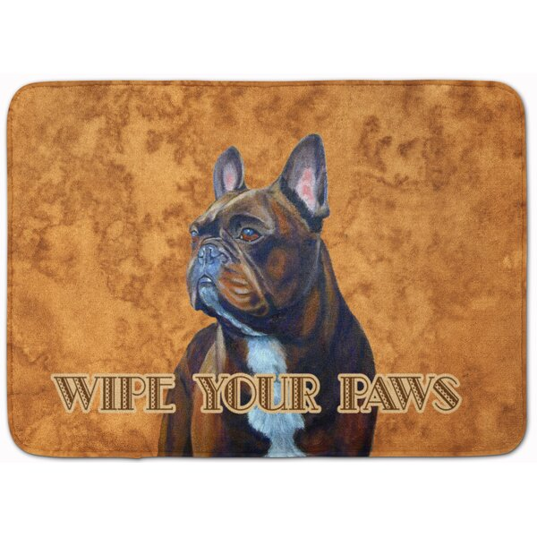 French Bulldog Wipe Your Paws Rectangle Microfiber Non-Slip Bath Rug
