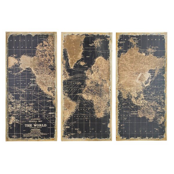 Stanford World Map 3 Piece Graphic Art Set by Trent Austin Design