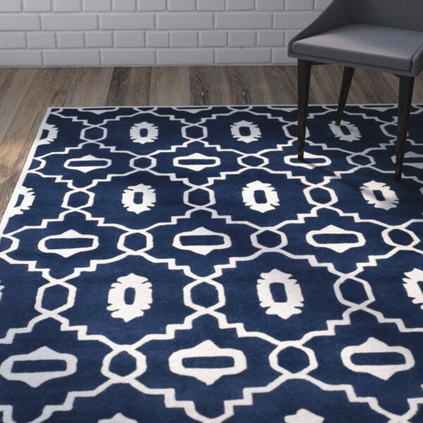 Wilkin Moroccan Hand-Tufted Wool Dark Blue/Ivory Area Rug by Wrought Studio