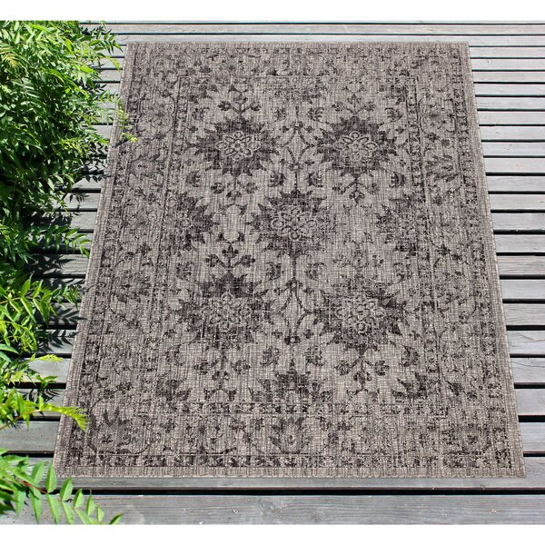 Arverne Floral Gray Indoor/Outdoor Area Rug By Charlton Home