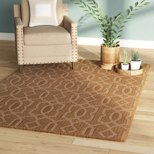 Annica Intertwined Fretwork Beige Indoor/Outdoor Area Rug by Union Rustic
