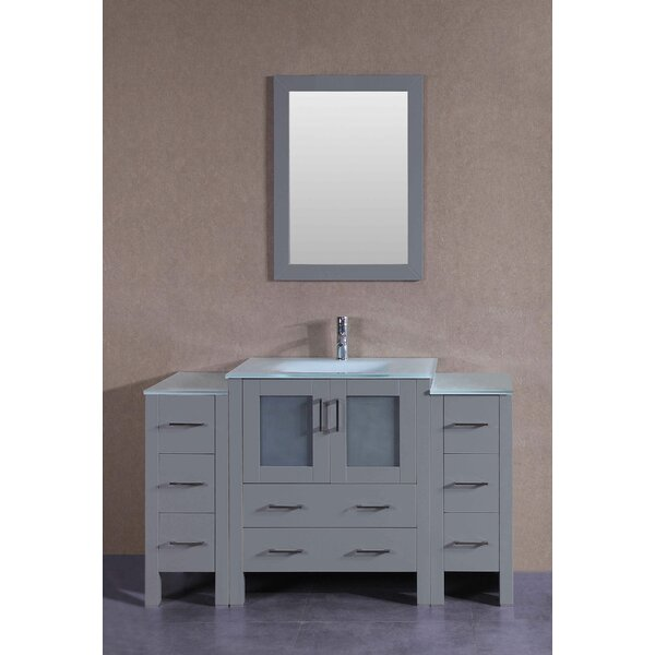 Lexington 54 Single Bathroom Vanity Set with Mirror by Bosconi