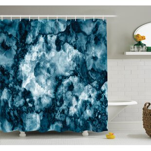 Purchase Antique Marble Stone with Blurry Distressed Motley Fractal Effects Illustration Shower Curtain Set By East Urban Home