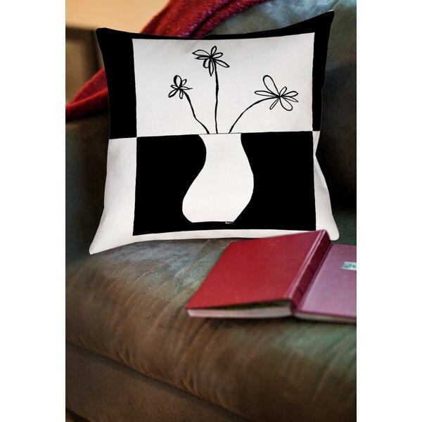 Minimalist Flower in Vase 4 Printed Throw Pillow by Manual Woodworkers & Weavers