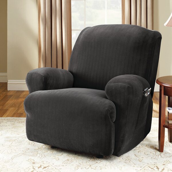 Stretch Pinstripe T-Cushion Recliner Slipcover by Sure Fit