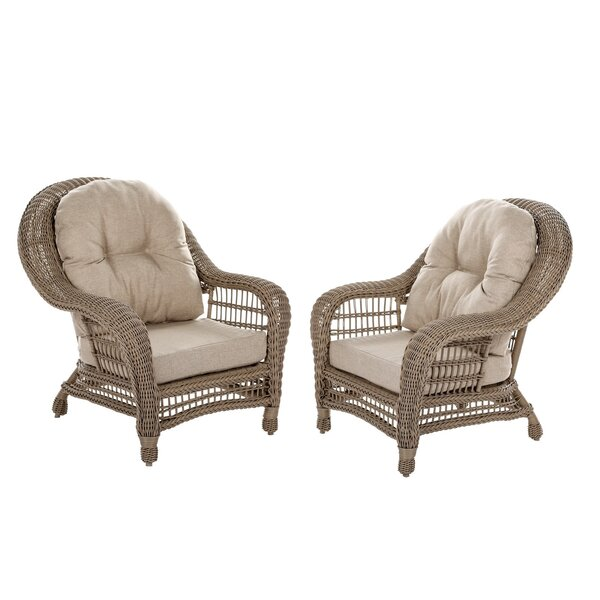 Simpson Outdoor Garden Patio Chair with Cushion (Set of 2) by One Allium Way