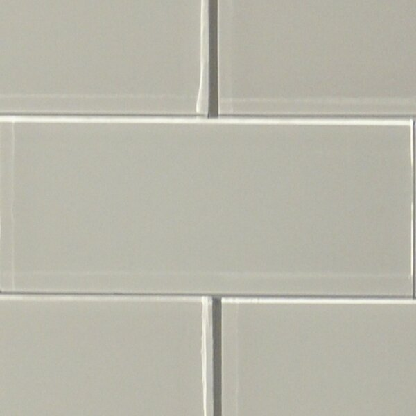Shiny 4.75 x 13 Glass Field Tile in Mist by The Bella Collection