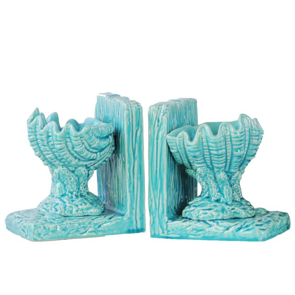 Ceramic Open Valve Clam Seashell on Base Bookend (Set of 2) by Urban Trends