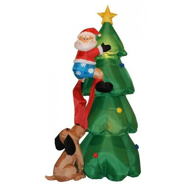 Christmas Inflatable Santa Claus Climbing on Christmas Tree Decoration by Three Posts