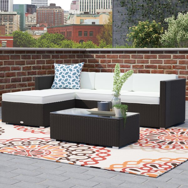 Colgan 5 Piece Rattan Sectional Seating Group with